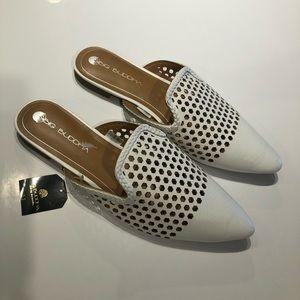 Big Budha flat slip on shoe size 11 white pointed